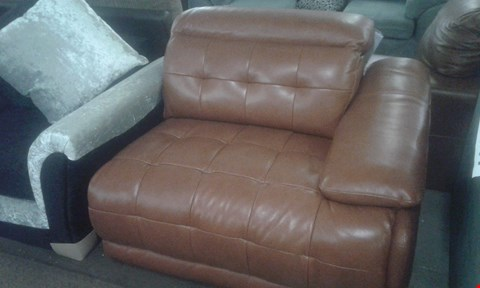 Lot 96 DESIGNER BROWN LEATHER RECLINER SOFA SECTION