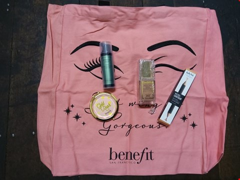 Lot 77 5 ASSORTED BRAND NEW COSMETICS PRODUCTS TO INCLUDE; BENEFIT TOTE BAG, BENEFIT GOLD RUSH MIRROR, MAX FACTOR HEALTHY SKIN HARMONY MIRACLE FOUNDATION, MAX FACTOR MIRACLE PREP PRIMER AND