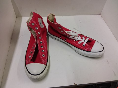 Lot 9027 BOXED CONVERSE ALL STAR CHUCK TAYLOR HI TOP CANVAS TRAINERS - RED SIZE 7