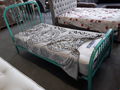 Lot 29 DESIGNER HARPER 3' SINGLE GREEN METAL BEDFRAME WITH SILENTNIGHT MIRACOIL ORTHO MATTRESS