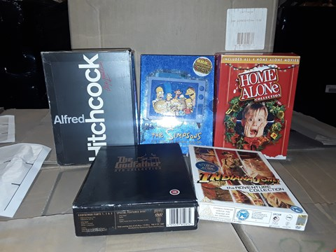 Lot 4141 JOB LOT OF ASSORTED CD/DVD BOXSETS , BOOKS AND GAMES TO INCLUDE HOME ALONE, THE GODFATHER,  INDIANA JONES(4 BOXES)