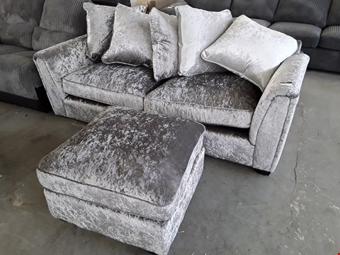 Lot 11 DESIGNER CRUSHED SILVER VELVET THREE SEATER SOFA WITH SCATTER CUSHIONS & MATCHING FOOTSTOOL