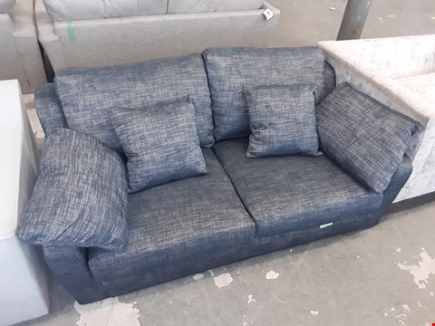 Lot 92 QUALITY BRITISH DESIGNER DENIM FABRIC 2 SEATER SOFA WITH SCATTER CUSHIONS