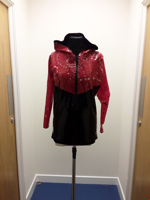 Lot 1098 RED AND BLACK LATEX PATTERNED HOODIE