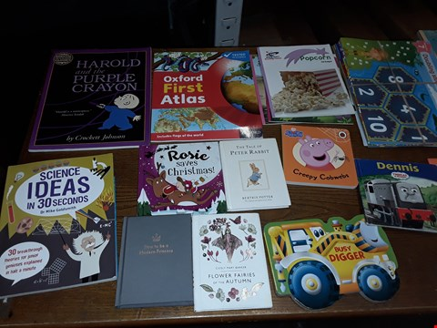 Lot 440 LOT OF APPROXIMATELY 31 ASSORTED CHILDRENS BOOKS AND MAGAZINES TO INCLUDE OXFORD FIRST ATLAS, THOMAS & DRIENDS DENIS, GRANDMA Z AND ROSIE SAVES CHRISTMAS ECT