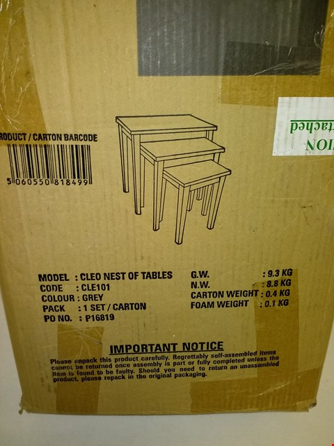 Lot 9175 BOXED ALDEN NEST OF TABLES (1 BOX) RRP £80.00