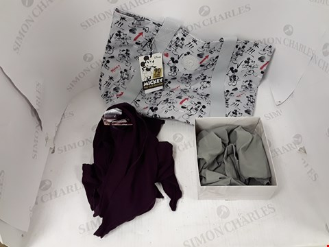 Lot 800 BOX OF APPROXIMATELY 16 ASSORTED DESIGNER CLOTHING ITEMS TO INCLUDE KIPLING MICKEY MOUSE BAG, DESIGNER PURPLE CARDIGAN, VERCELLA VITA UNDERWEAR ETC