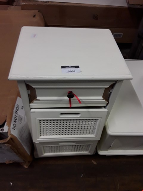 Lot 12162 DESIGNER WHITE FINISH 3 DRAWER BEDSIDE CABINET