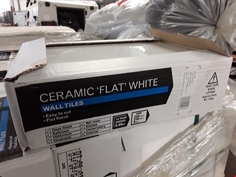 Lot 250F LOT OF 25 PACKETS OF CERAMIC FLAT WHITE WALL TILES - 12 PER CASE COVERS 0.99SQM SIZE EACH 250X330X8MM RRP £360