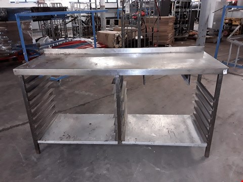 Lot 180004 STAINLESS STEEL PREP STATION WITH TRAY RACKING