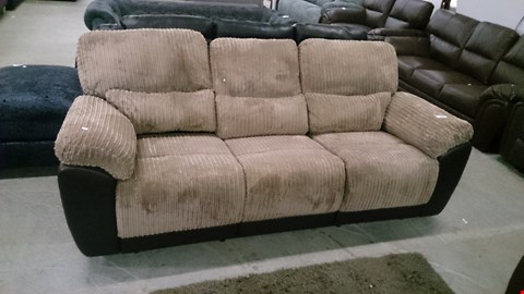 Lot 1206 DESIGNER SIENNA BROWN LEATHER AND BEIGE CORDED FABRIC RECLINING 3 SEATER SOFA