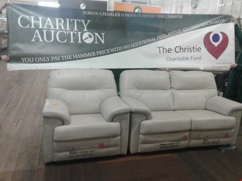 Lot 1 DESIGNER BRITISH MADE HARDWOOD FRAMED CREAM LEATHER MANUAL RECLINING 2 SEATER SOFA AND ELECTRIC RECLINING ARM CHAIR