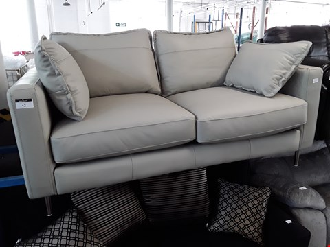 Lot 42 DESIGNER GREY LEATHER TWO SEATER SOFA WITH BOLSTER CUSHIONS, ON CHROME FEET