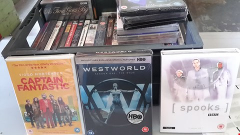 Lot 9037 BOX OF APPROXIMATELY 35 ASSORTED DVD'S INCLUDING CAPTAIN FANTASTIC, WESTWORLD, SPOOKS ETC