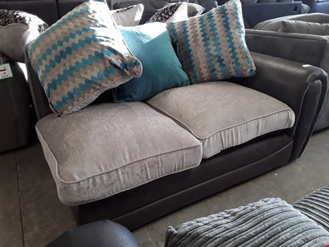 Lot 15 BROWN FAUX LEATHER & GREY FABRIC TWO SEATER SECTION WITH SCATTER CUSHIONS