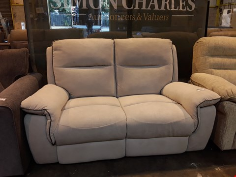 Lot 9057 DESIGNER NATURAL FABRIC MANUAL RECLINING TWO SEATER SOFA WITH CONTRAST TRIM