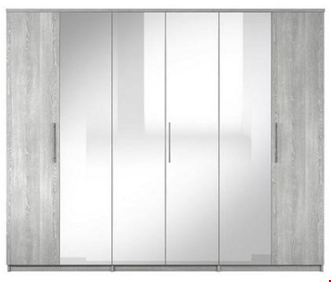 Lot 7071 BOXED GRADE 1 PRAGUE GREY 6 DOOR WARDROBE (5 BOXES) RRP £749.00