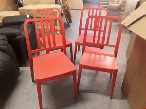 Lot 26 SET OF 4 RED COMPOSITE PAPATYA CHAIRS RRP £58.00