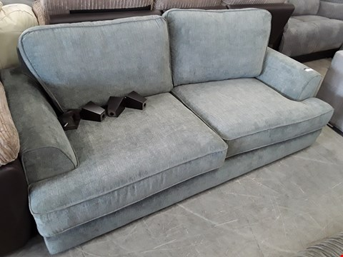 Lot 83 DESIGNER GREY FABRIC THREE SEATER SOFA