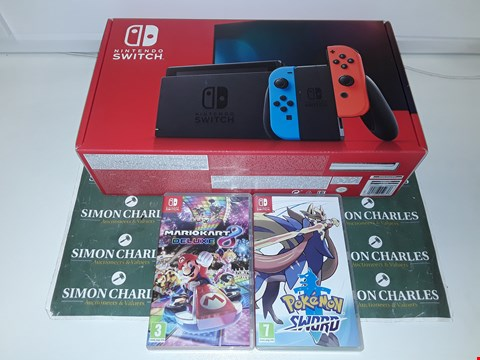 Lot 1249 NINTENDO SWITCH NEON RED/BLUE CONSOLE WITH MARIOKART DELUXE + POKEMON SWORD
