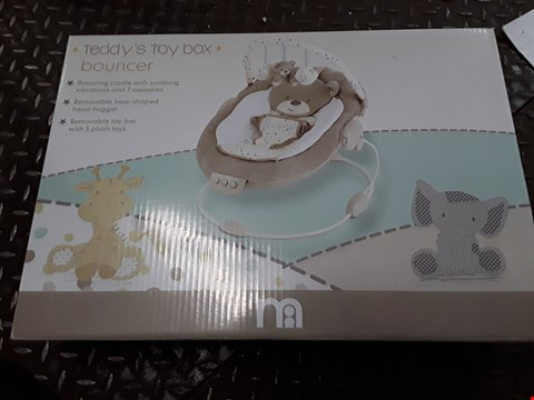 Lot 2733 TWO ITEMS, MOTHERCARE TEDDY TOY BOX BOUNCER & LAZER LIGHT SHOW RRP £134.99