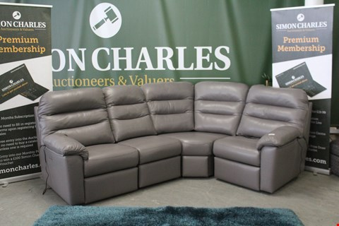 Lot 10021 QUALITY BRITISH MADE, HARDWOOD FRAMED GREY LEATHER POWER RECLINING CORNER GROUP