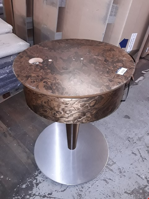 Lot 1035 DESIGNER DECO INFLUENCED WALNUT VENEER ROUND SIDE TABLE WITH ROTATING TOP
