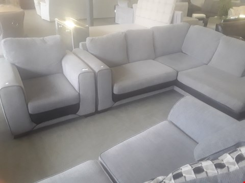 Lot 96 DESIGNER GREY FABRIC SUITE WITH CONTRASTING BLACK TRIM, COMPRISING, CHAISE SOFA & EASY CHAIR