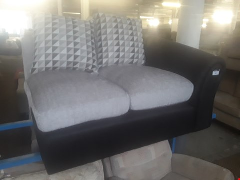 Lot 57 BLACK FAUX LEATHER & GREY FABRIC TWO SEATER SECTION