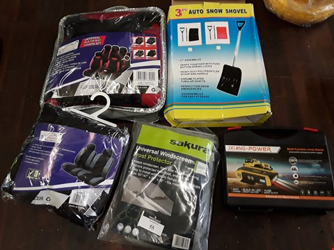 Lot 55 FIVE ITEMS, UNIVERSAL CAR SEAT SET, UNIVERSAL FRONT SEAT COVER SET, AUTO SNOW SHOVEL, JUMP START PACK, UNIVERSAL WINDSCREEN FROST PROTECTOR,