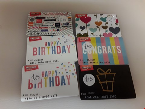 Lot 70 6 ASSORTED ONE 4 ALL GIFT CARDS TOTAL VALUE £145