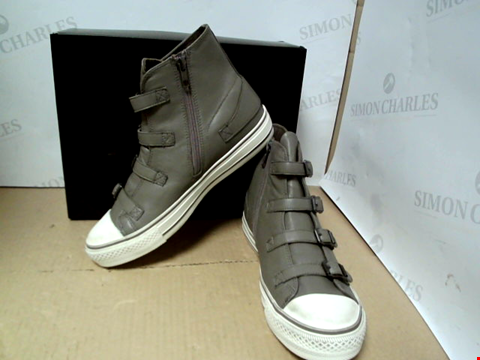 Lot 7106 ASH VIRGIN NAPPA LEATHER HIGH TOP GREY TRAINERS - SIZE 7