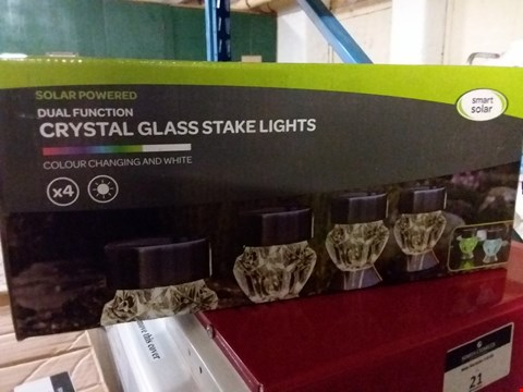 Lot 1 LOT OF 3 X BRAND NEW SOLAR POWERED CRYSTAL GLASS STAKE LIGHTS RRP £60