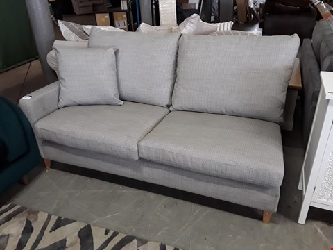 Lot 19 QUALITY BRITISH DESIGNER GREY WEAVE SOFA SECTION