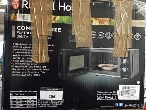 Lot 266 RUSSELL HOBBS RHFM2001B FLATBED MICROWAVE, 19 LITRE, BLACK