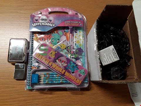 Lot 7148 BOX OF APPROXIMATELY 16 ASSORTED ITEMS TO INCLUDE HATCHIMALS BUMPER STATIONARY KIT, PERSONALISED TOBACCO TIN & LIGHTER SET, 480 WARM WHITE MULTIFUNCTION CLUSTER LIGHTS RRP £457