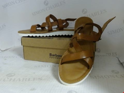 Lot 16085 BOXED PAIR OF DESIGNER BARBOUR SANDALS - UK SIZE 6