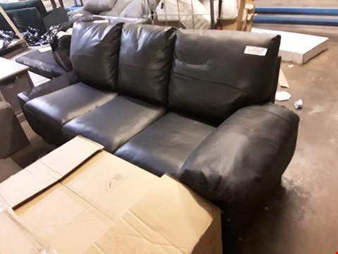 Lot 364 DESIGNER BLACK FAUX LEATHER 3 SEATER SOFA