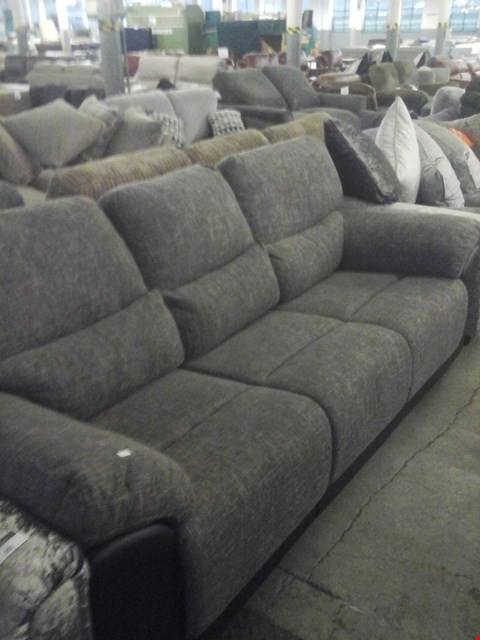 Lot 70 DESIGNER GREY MARL FABRIC 3 SEATER RECLINER SOFA