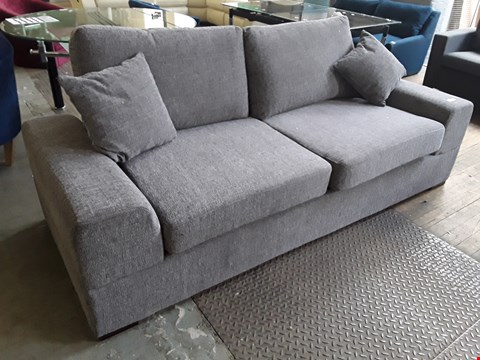 Lot 43 DESIGNER GREY FABRIC THREE SEATER SOFA