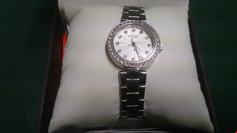Lot 1513 LADIES ROTARY STYLE STAINLESS STEEL & CRYSTAL WRIST WATCH IN CASE RRP £197.00