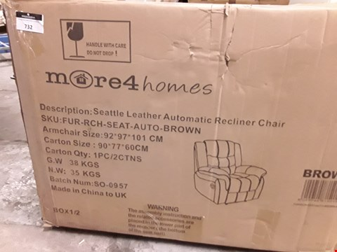 Lot 732 BOXED SEATTLE BROWN LEATHER RECLINING CHAIR (BOX 1 OF 2 ONLY)