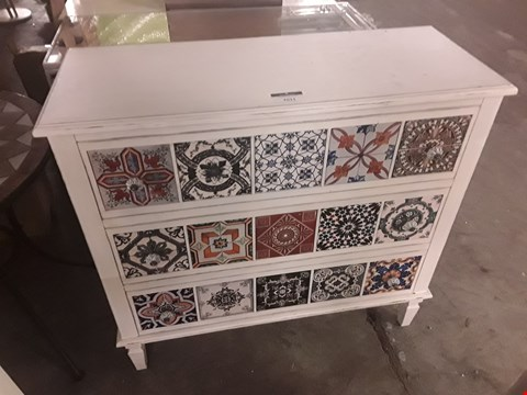 Lot 7011 DESIGNER WHITE THREE DRAWER WIDE CHEST WITH DECORATIVE TILED FRONT