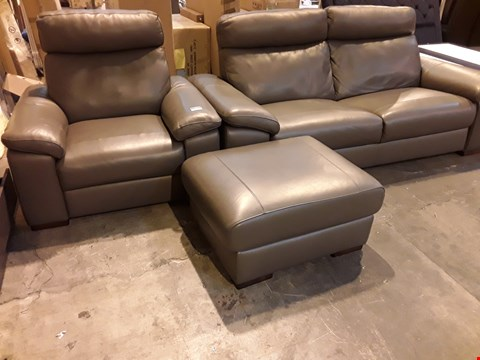 Lot 1 QUALITY ITALIAN DESIGNER GREY LEATHER FIXED LOUNGE SUITE, COMPRISING, THREE SEATER SOFA, EASY CHAIR & FOOTSTOOL