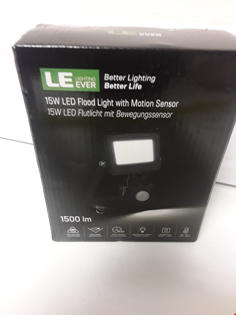 Lot 4581 BOXED LE EVER 15W LED FLOODLIGHT WITH MOTION SENSOR