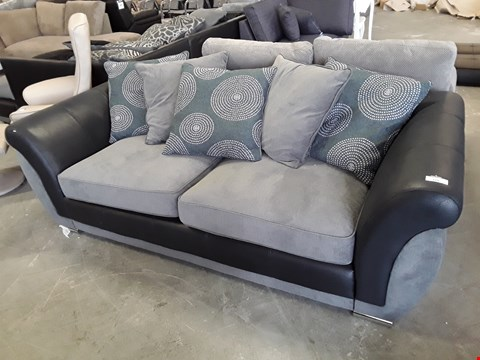 Lot 119 DESIGNER BLACK FAUX LEATHER AND GREY FABRIC 3 SEATER SOFA WITH SCATTER BACK CUSHIONS