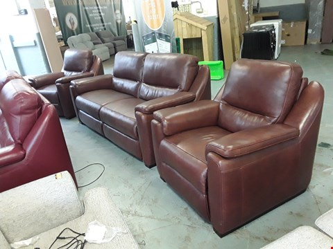 Lot 121 QUALITY DESIGNER ITALIAN BROWN LEATHER AVOLA 3 SEATER SOFA AND TWO POWER RECLINING ARMCHAIRS
