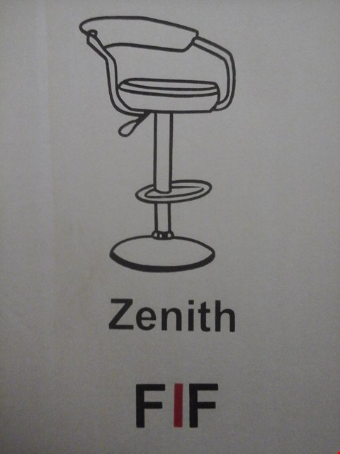 Lot 6031 FURNITURE IN FASHION 2 ZENITH GAS BAR STOOLS IN BLACK ( 1 BOX )