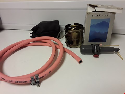 Lot 4220 TWO ITEMS, BOXED FIRE-JET OUTDOOR PETROL/PARRAFIN BURNER & LENGTH LPG HOSE WITH 2 CLIPS