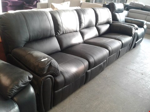 Lot 21 TWO DESIGNER BLACK FAUX LEATHER POWER RECLINING SOFA SECTIONS